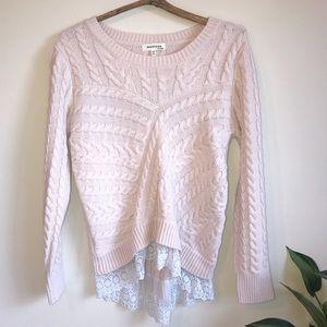Monteau Blush Pink Cable Knit Lace Hem Sweater